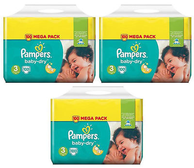 3 Pampers Mega Pack baby dry Taille 3 (5-9kg) 300 couches