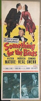 Something for the Birds, Movie Poster, 1952 Victor Mature, Patricia Neal 14 x 36