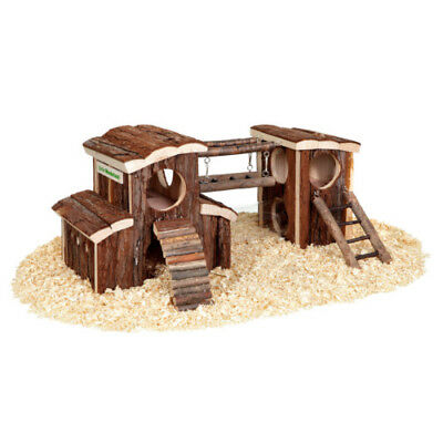 Hamster Wooden Playground House Activity Exercise Gym Toy with Bed Tunnel Ladder