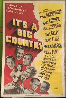 "It's A Big Country, Movie Poster, 1951, Ethel Barrymore, Gary Cooper, 27"" x 41"