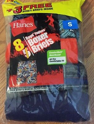 Hanes Cotton 8 Pack Boxer Briefs Boys Size Small 6-8 NWT (np8)