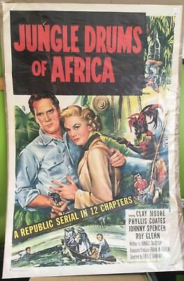 "Jungle Drums of Africa, Movie Poster, 1953 Clayton Moore Phyllis Coates 27"" x 41"