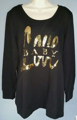 "MOTHERHOOD MATERNITY ""Love Baby"" Gold Sequin on Black Sweatshirt Size Large"