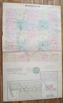 Antique Colored MAP - MARSHALL COUNTY + IRVING - 1887 KANSAS ATLAS