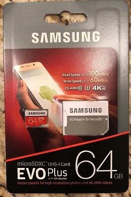 Samsung EVO Plus 64GB Memory Class 10 U3 MicroSDXC UHS-I Card SD Adapter