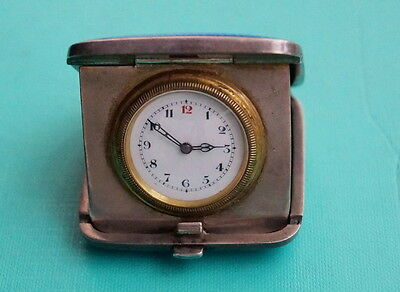 Reise - Taschenuhr  Silber Emaille  England um 1925   POCKET PURSE TRAVEL WATCH