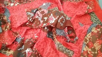 New-Accessories-Large-Square-Red/Multi Colour Animal/Floral Print tasseled Scarf
