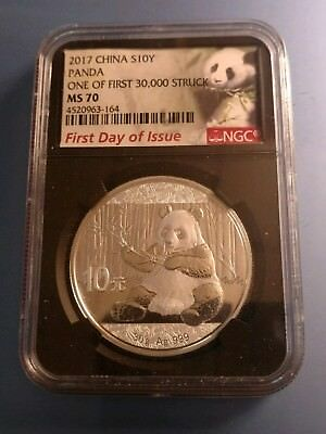 P.R. CHINA  2017 NGC MS70 First Day Of Issue 10 YUAN PANDA  30g .999 Silver Coin