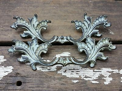"2 VTG Ornate SHABBY Provincial Brass Pull Handle Drawer Dresser Chest 3 1/2"" CC"