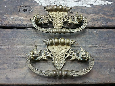 2 VTG Old FANCY Ornate Cast Brass Victorian Deco Pull Handle Drawer Dresser Desk