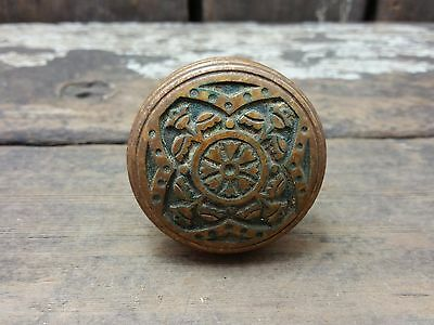 VTG Antique Old Fancy Cast BRASS Ornate Eastlake SCREWLESS Spindle Door Knob