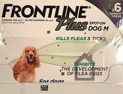 Frontline Plus for Medium Dogs 23-44 Lbs (10-20kg) 6 Month Supply By Merial ~New