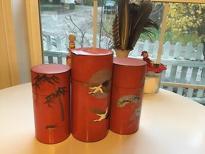 UPDATE Antique Chazutsu Japanese Hand Painted Canister Set 3 Tea Tins Vintage