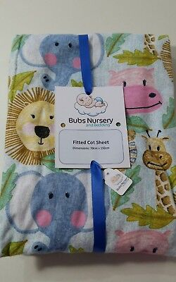 Brand New Cot or toddler bed flannel fitted sheet - 70 x 132 cm - Jungle animals