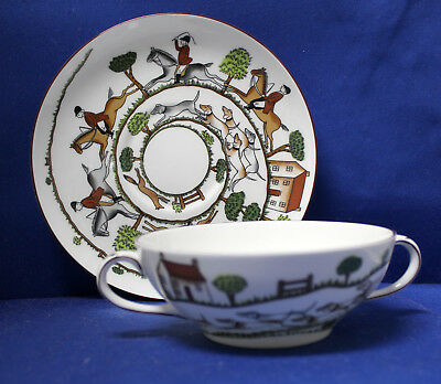 Crown Staffordshire Hunting Scene Cream Soup & Saucer Excellent Condition