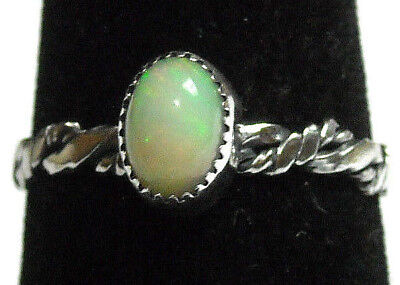 925 Sterling Silver Ring Size 7.5 Fine Green Sparkles Natural Fire Opal NEW