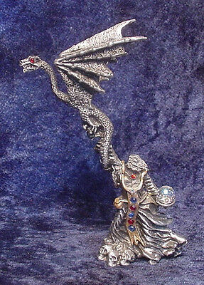 Pewter WIZARD - DRAGON MASTER with CRYSTALS - Satin Matte Finish