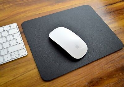 EXECUTIVE Black Bonded Leather MOUSE MAT PAD 25x20cm, Easy Wipe, Apple, UK Made