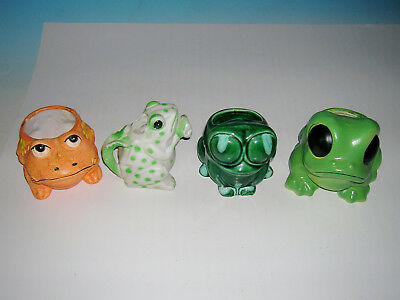 4 Vintage Smiley Frogs 3 Planters & 1 House Plant Watering Can