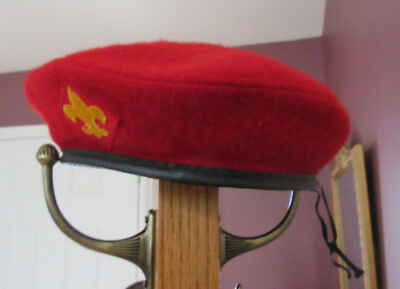 Boy Scouts of America Wool Beret Hat Cap BSA Official Headwear Red Med M 6 7/8-7