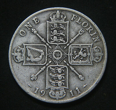 George V 1911-1919 Sterling Silver Florin Buyer's Choice of Date
