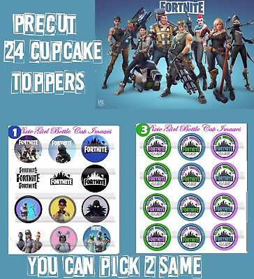"""2"""" Fornite 24 Happy Birthday Customized Birthday Circle Cup Cake Toppers"""