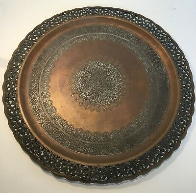 Antique Early Persia Safavid Copper Engraved Plate Dish MING DYNASTY