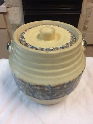 Vintage Antique Crock Pottery Brown Blue Ridges Ringware Spongeware Pot Lid