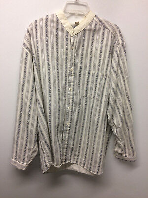 Wahmaker Banded Collar White/Gray Men's Pullover Western/Cowboy Shirt, XLarge