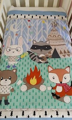 "New ""Woodland Friends"" cot /toddler bed quilt + pillowcase set"