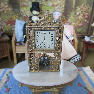 Antique Dollhouse VICTORIAN WALL CLOCK Soft Metal Miniature ORNATE GOLD PAINTED