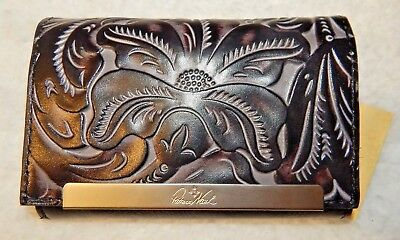 Patricia Nash Black Tuscan Cametti Tooled Trifold Wallet Italian Leather NWT $99