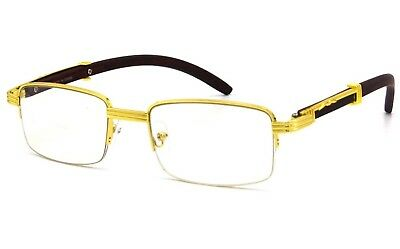 5e545200d055 Fashion Vintage Wood Buffs Designer Eyeglasses Square Frame Clear Lens  Glasses