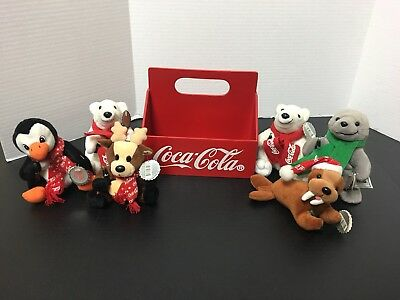 1998 Coca Cola Bean Bag Plush Lot Of 6 With Tags And Wood Crate