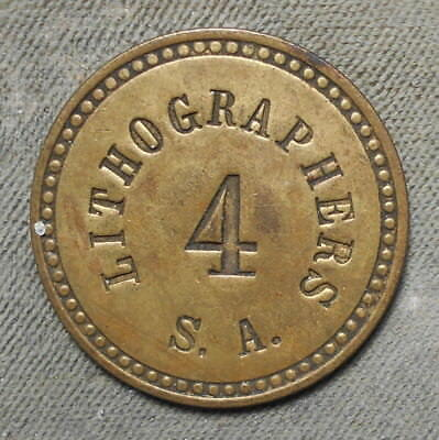 Lithographers S.A. 4  Brass Brass All Incuse 28mm Uniface