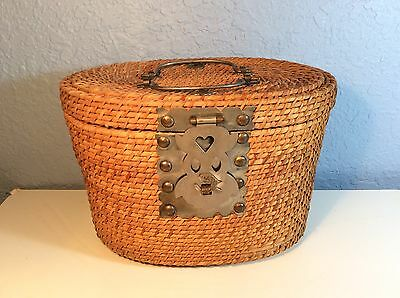 Vintage Asian Rattan Wicker Basket Tea Caddy Metal Handles Hinges Fish Clasp