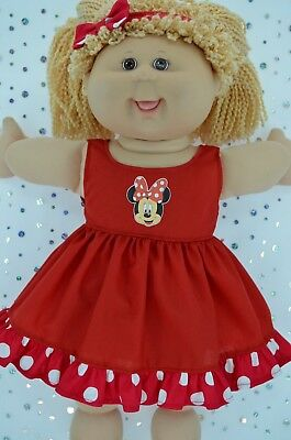 """Play n Wear Doll Clothes To Fit 16"""" Cabbage Patch POLKA DOT/RED DRESS~HEADBAND"""
