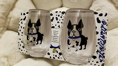 SALE! New SET of 2 Boston Terrier Dogs Drink CUP Glasses Perfect for dog lovers!