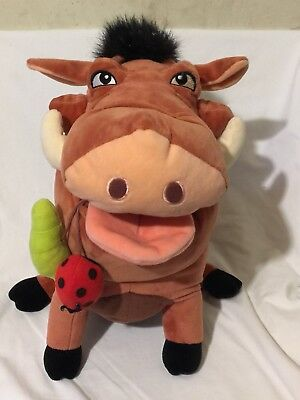 "Disney Parks The Lion King  ""pumbaa"" Warthog With Bugs Plush 16"""