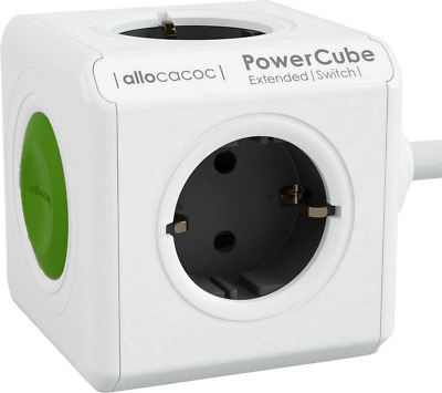 Allocacoc Steckdosenwürfel Power Cube Extended Switch 1.5m Grau H05VV-F 3G 1,5mm