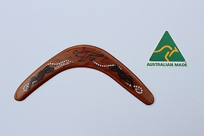 Australian Made 29cm Premium Throwing Boomerang with Stained Poker Design
