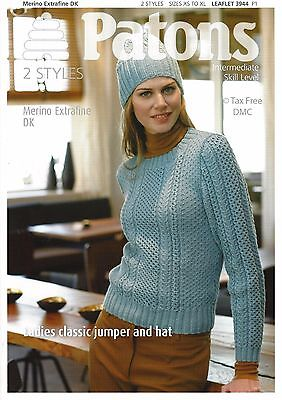 ce787b8f1974f VAT Free Knitting PATTERN ONLY Patons DK Ladies Classic Jumper   Hat 3944  New