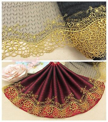 "7""*1Y Embroidered Floral Tulle Lace Trim~Black+Deep Gold~Dreamy Stage~Gorgeous~"