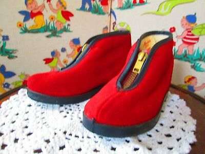 Original Vtg 40s 50s Red Suede Fur Lined Booties Child Toddler Infant Size 7
