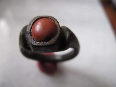 Antique  Medieval Ancient Bronze ring with red jasper stone