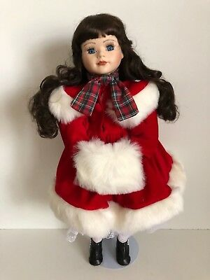 Diane The Christmas Porcelain Doll With A Red Velvet Dress and Black Shoes
