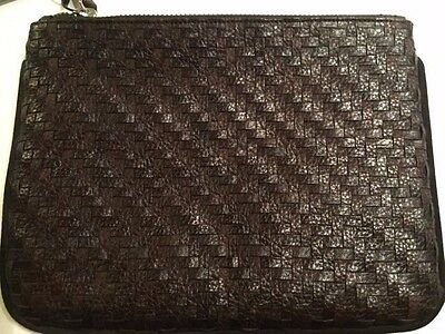 NWT Cole Haan Santa Croce Woven Leather/Suede Chamberlain Large Pouch-Dark Brown