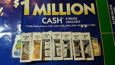 7 of 8 $1,000,000 Safeway monopoly tickets game pieces