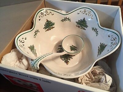 Spode Christmas Tree Pierced Large CENTERPIECE BOWL with Ladle England #660448