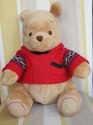 """Winnie the Pooh in Red Jumper 12"""" Plush by Disney foot stamped 2007"""